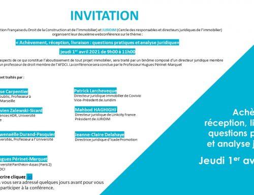 Juridim et l'AFDCI organisent leur deuxième webconférence le 1er avril 2021